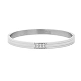Stainless Steel Bracelets With Set of 6 CZ's