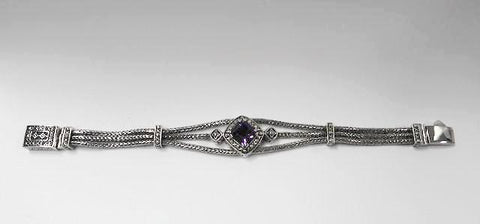House of Bali by George Thomas Sterling Silver Bracelet With Amethyst Stone