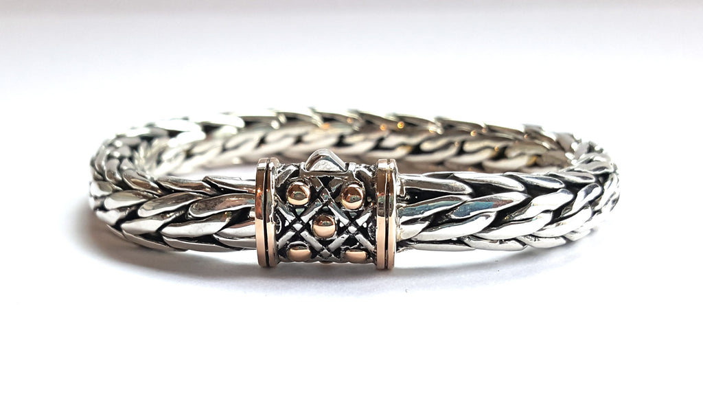 House of Bali by George Thomas Sterling Silver with Rose Gold Braided Bracelet