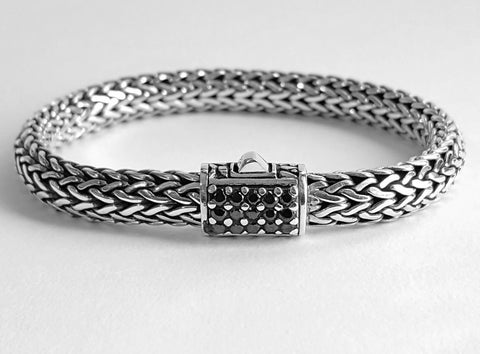 House of Bali by George Thomas Sterling Silver & Spinel Braided Bracelet