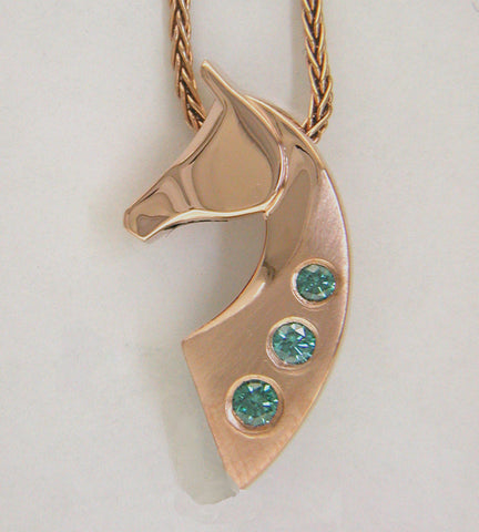 The Classic© Single Pendant in 14k Rose Gold with 3 Teal Diamonds