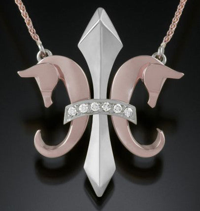 The Fleur de Lis© in 14K White and Rose Gold and diamonds