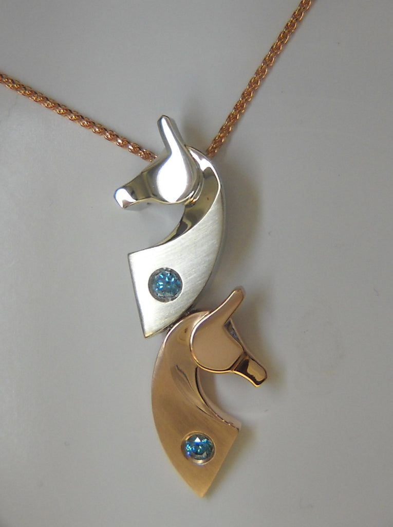The Classic© Double Pendant in 14k Gold with Teal Diamonds