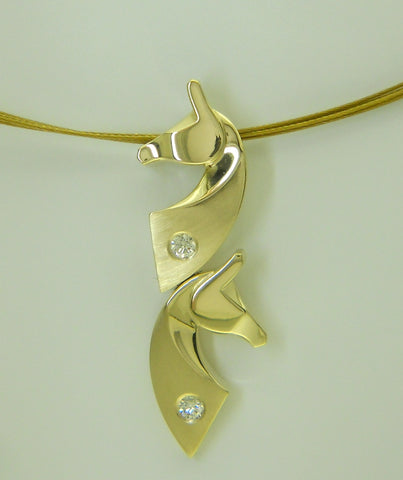 The Classic© Double Pendant in 14k Gold with Diamonds