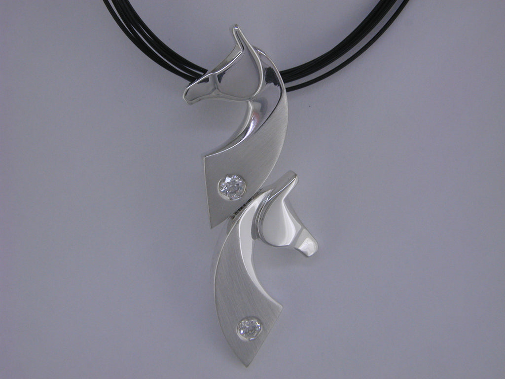 The Classic© Double Pendant in Sterling Silver with Diamonds