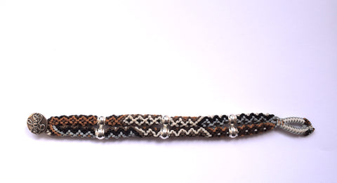 Isha Elafi Double Rope Bracelet in Brown, Gold & White