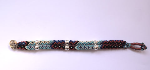 Isha Elafi Double Rope Bracelet in Turquoise, Red, Black & White