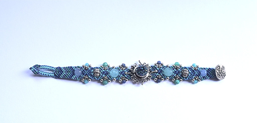 Isha Elafi Simple Bracelet Blue with Blue Druzy