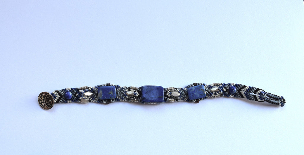 Isha Elafi Weave Bracelet Blue with Lapis and Sodalite Stones