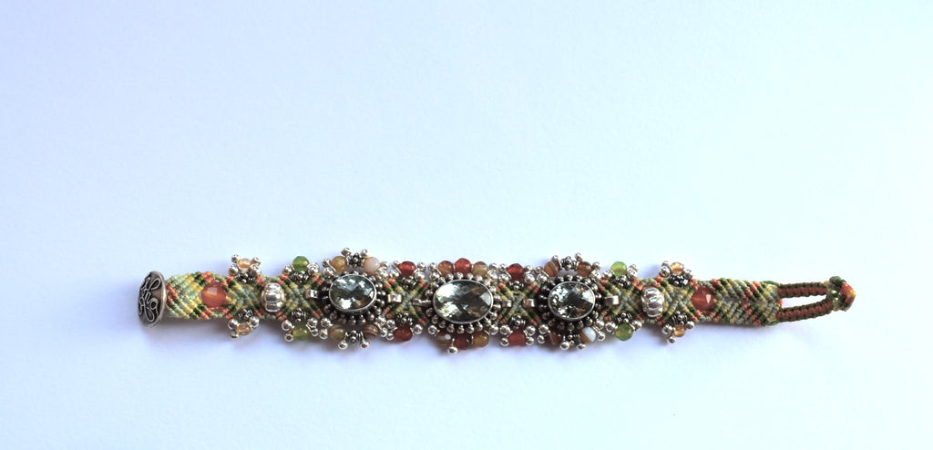 Isha Elafi Silverdrop Bracelet in Orange and Green with Green Stones