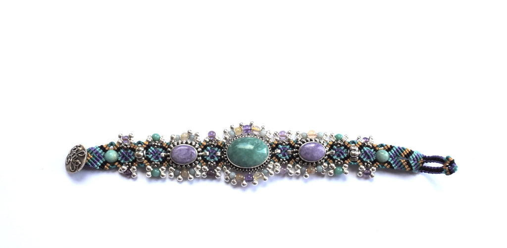 Isha Elafi Silverdrop Bracelet in Purple & Green with Amazonite & Sugalite Stones