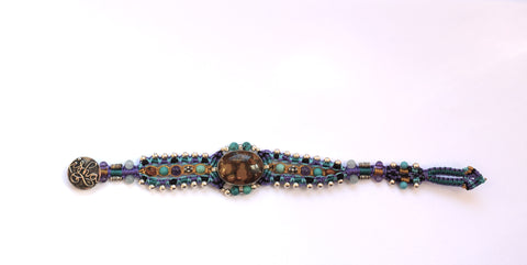 Isha Elafi Genie Bracelet in Blues & Tans with Tan Stone