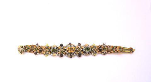 Isha Elafi 3 Piece Bracelet in Gold & Green with Citrine & Peridot