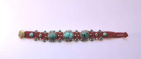Isha Elafi 3 Piece Bracelet in Red with Turquoise Stones