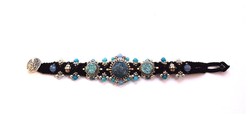 Isha Elafi 3 Piece Bracelet in Black with a Blue Druzy
