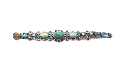 Isha Elafi 3 Piece Bracelet in Light Blue with Turquoise Stones