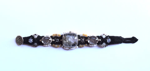 Isha Elafi 3 Piece Bracelet in Black with Quartz Stones
