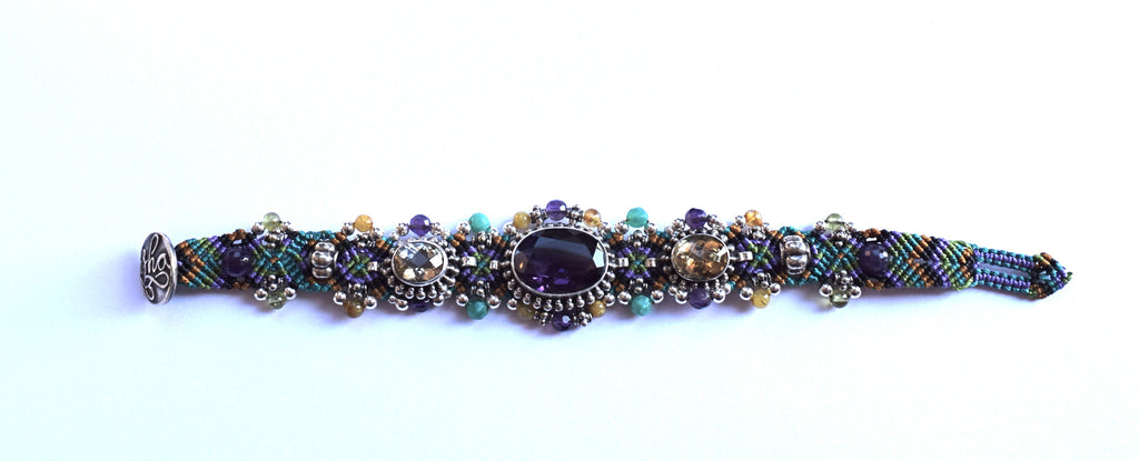 Isha Elafi 3 Piece Bracelet in Purple, Gold & Green with an Amethyst Stone