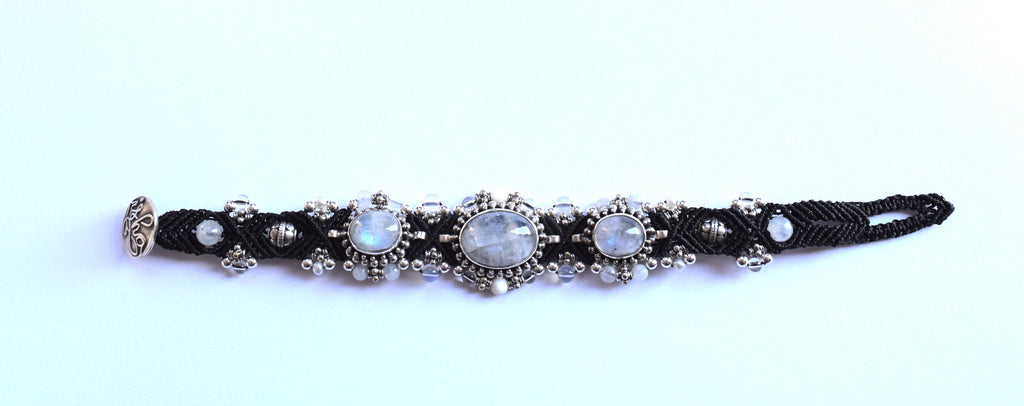 Isha Elafi 3 Piece Braclet in Black with Moonstones