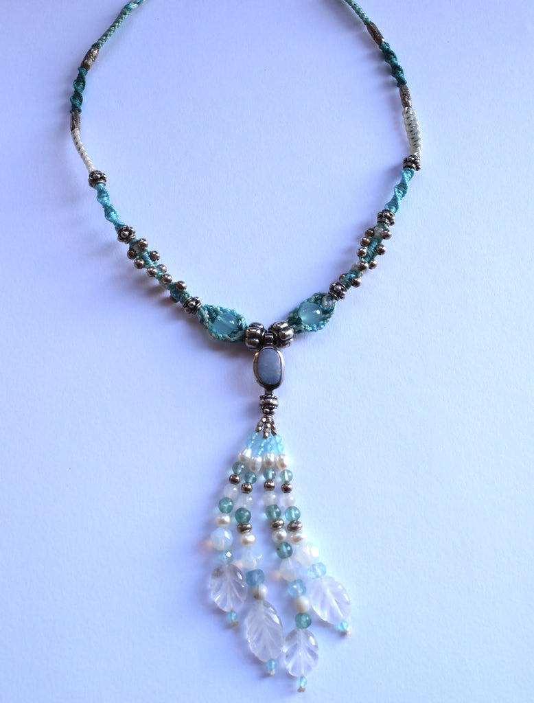 Isha Elafi Tassel Necklace in Turquoise & White with an Opal