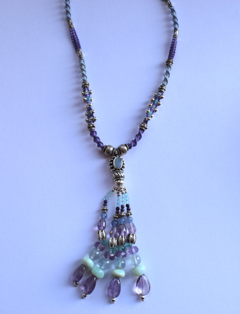 Isha Elafi Tassel Necklace in Purple & Light Blue with an Opal
