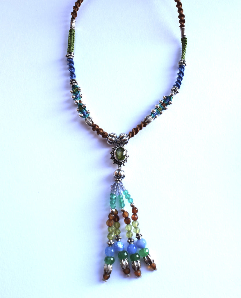 Isha Elafi Tassel Necklace in Blue & Tan with Peridot