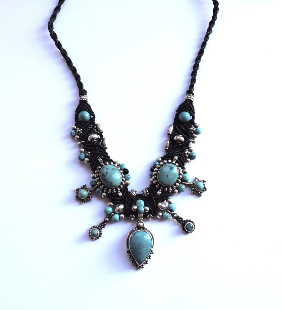 Isha Elafi Choker in Black with Turquoise