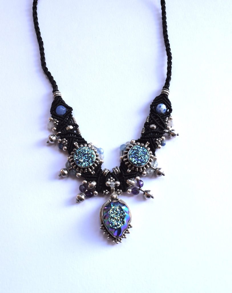 Isha Elafi Choker in Black with a Blue Druzy