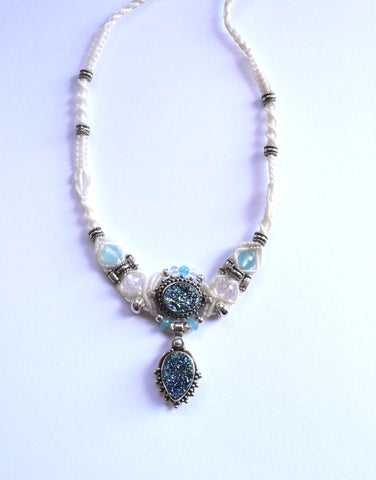 Isha Elafi New Gio Necklace in White with a Blue Druzy