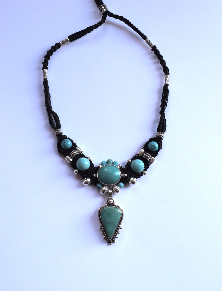 Isha Elafi New Gio Necklace in Black with Turquoise Stone
