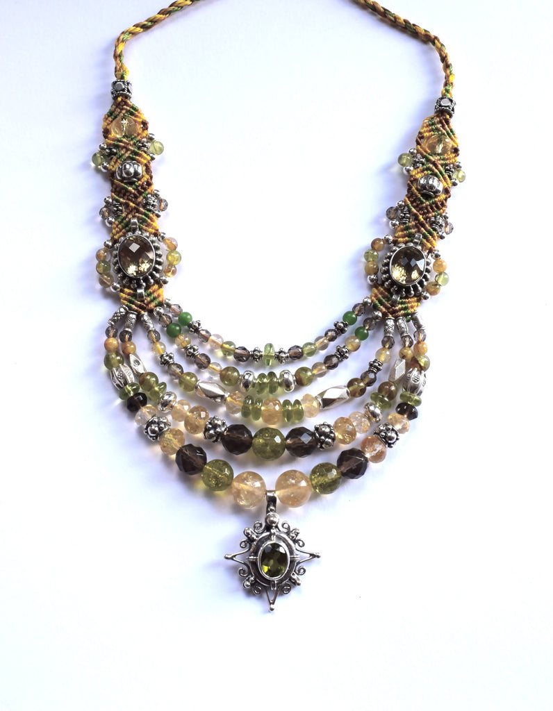 Isha Elafi Multi Strand Necklace in Green, Organge, Gold & Brown with Peridot & Citrine