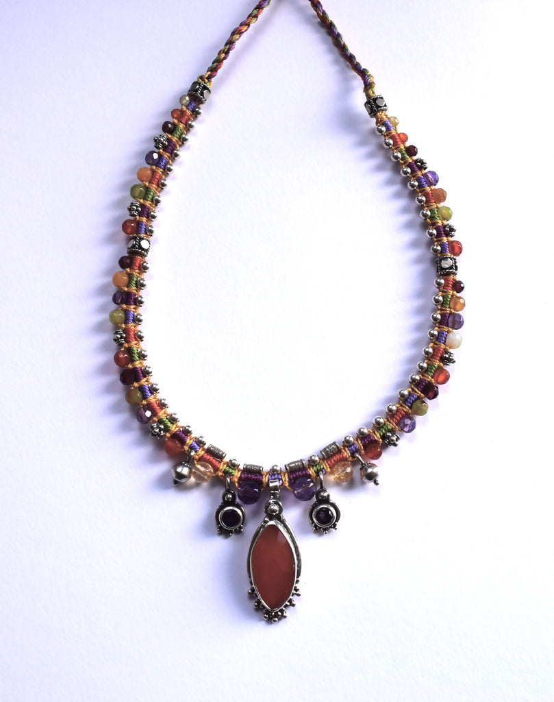 Isha Elafi Snake Necklace in Orange & Purple with a Carnelian Drop