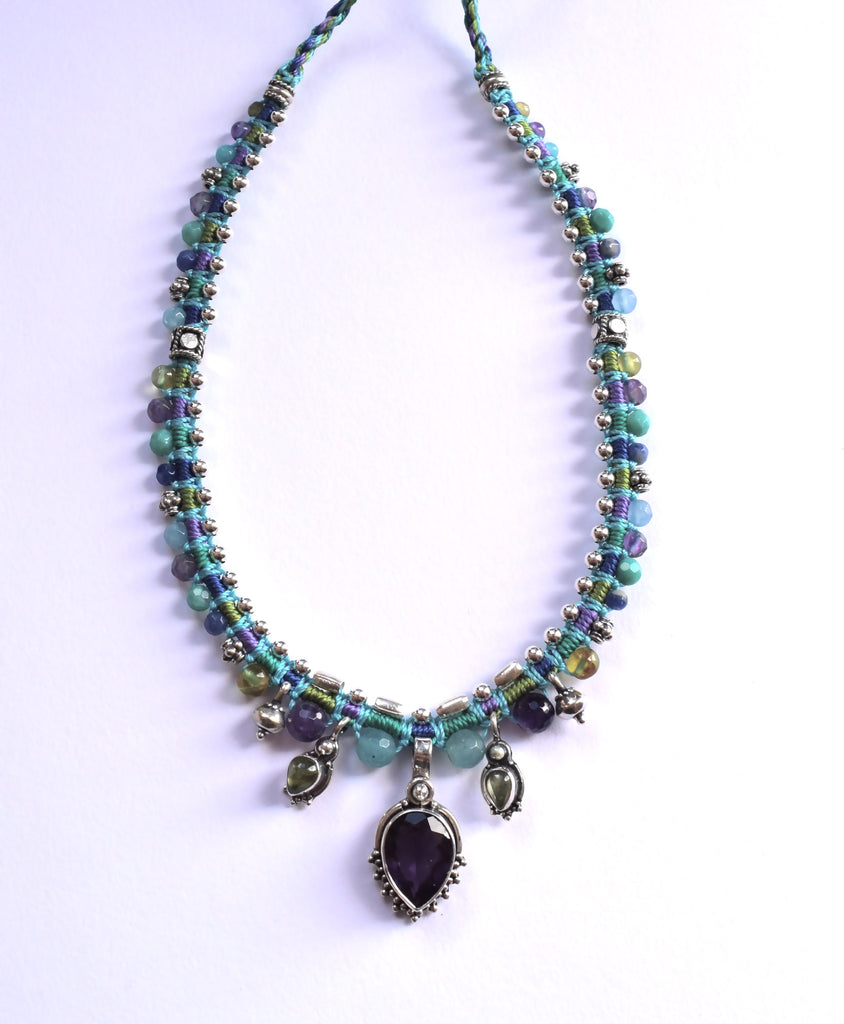 Isha Elafi Snake Necklace in Blue, Purple & Green with an Amethyst Drop