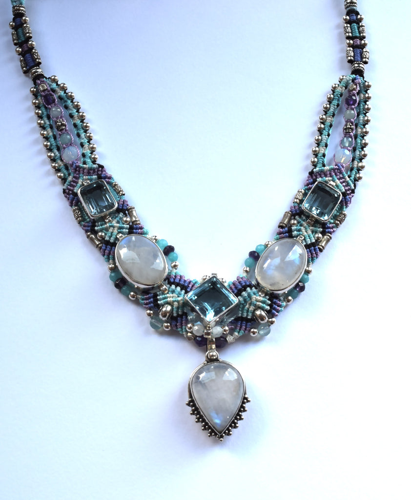 Isha Elafi Kris Necklace in Blue & Purple with Moonstone & Blue Topaz