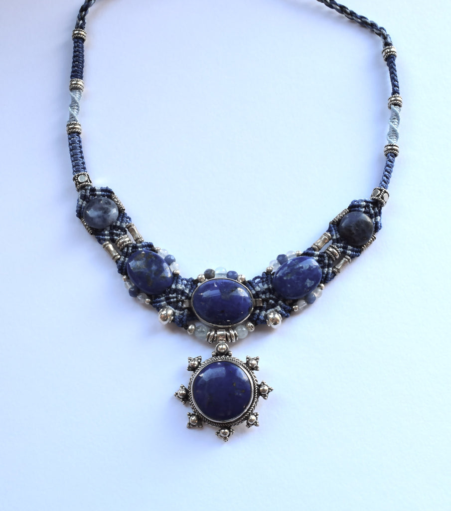 Isha Elafi Big Gio in Blues with Lapis Sodalite Stones