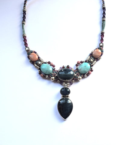 Isha Elafi Big Gio Necklace in Turquoise & Pink with Teal Sapphire & Larimar Stones