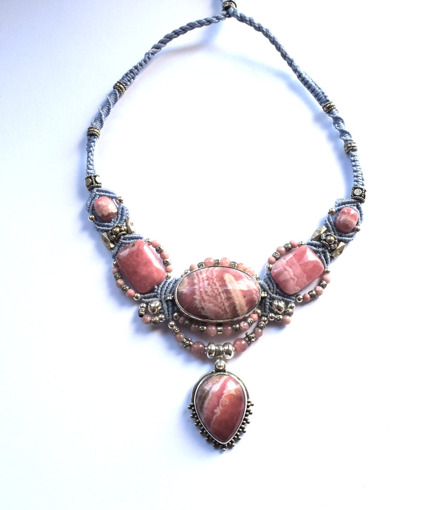 Isha Elafi Big Gio Necklace in Blue & Pink with Rhodochrosite Stones