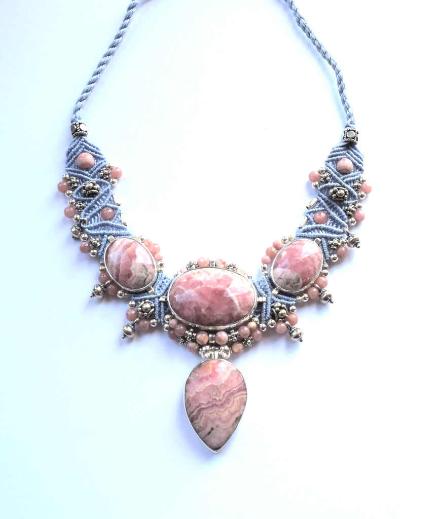 Isha Elafi Big Choker Necklace in Blue with Rhodochrosite Stones