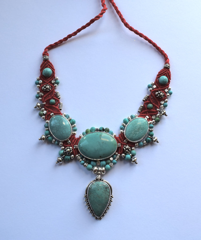Isha Elafi Big Choker with Turquoise Stone