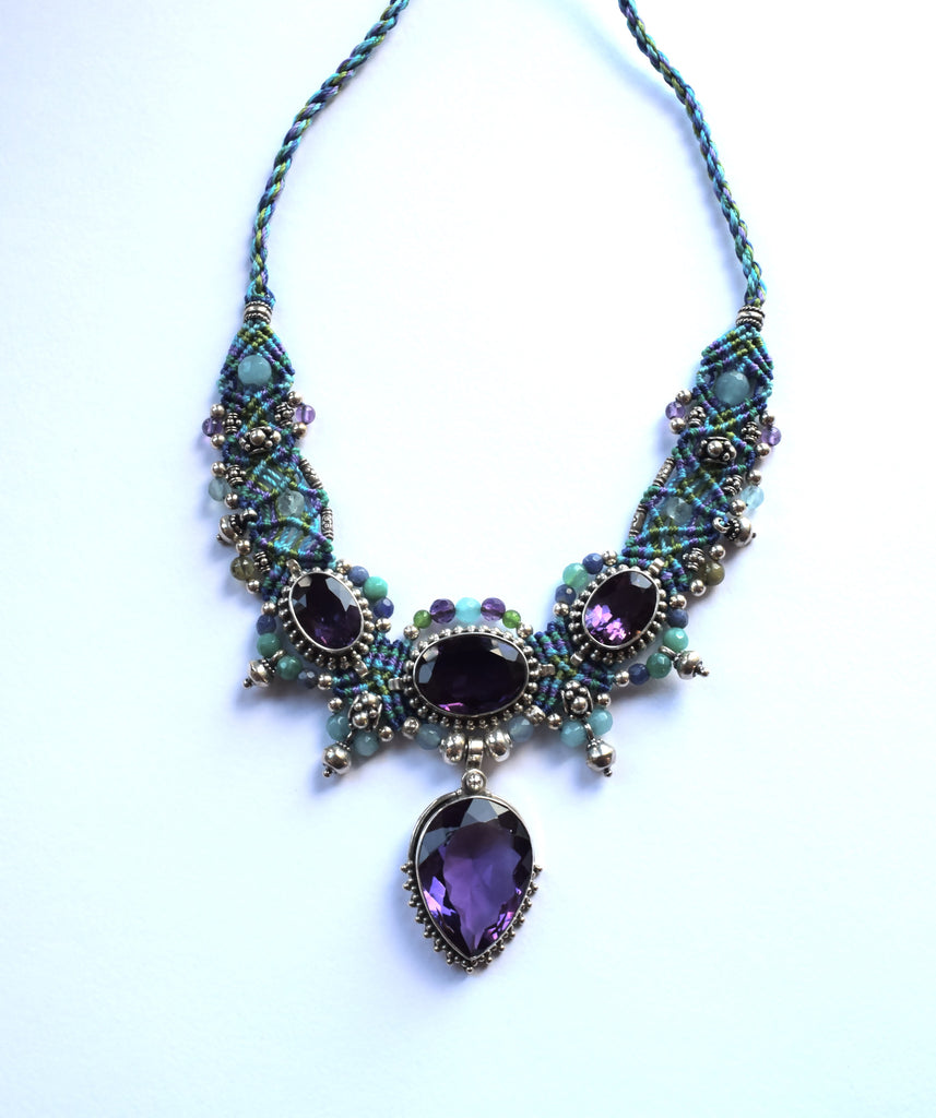 Isha Elafi Big Choker Blue & Purple with Amethyst Stones