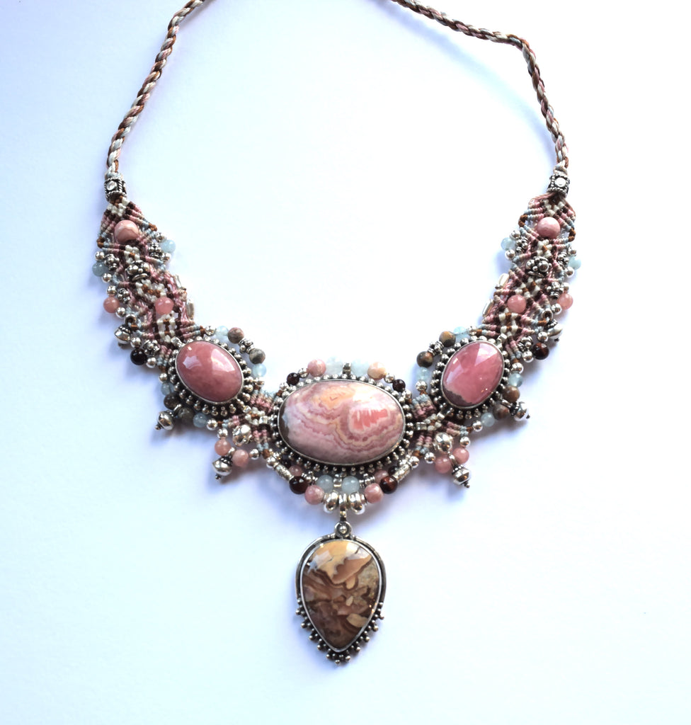Isha Elafi Big Choker in Pink with Rhodochrosite Stones
