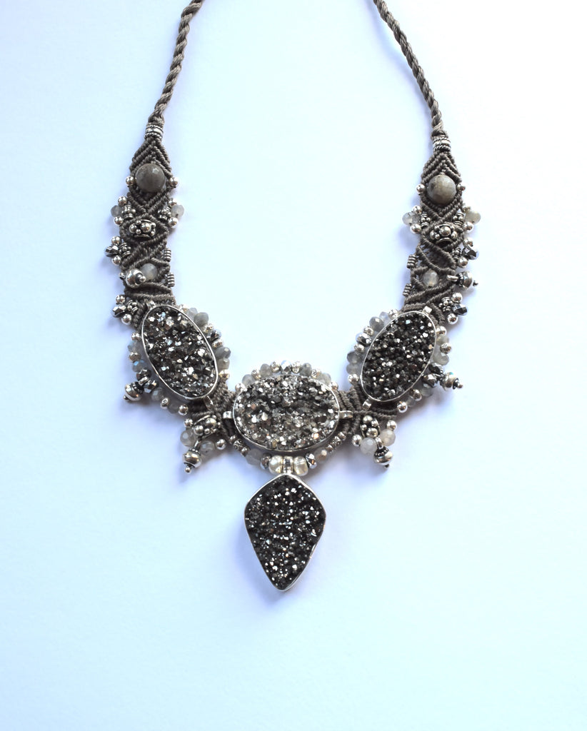 Isha Elafi Big Choker in Grey with Grey Druzy