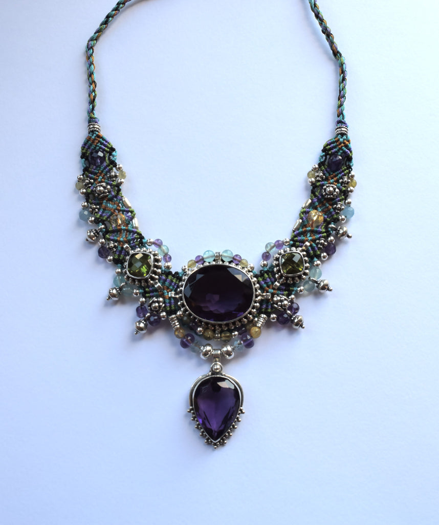 Isha Elafi Big Choker in Purple & Green with Amethyst & Peridot Stones