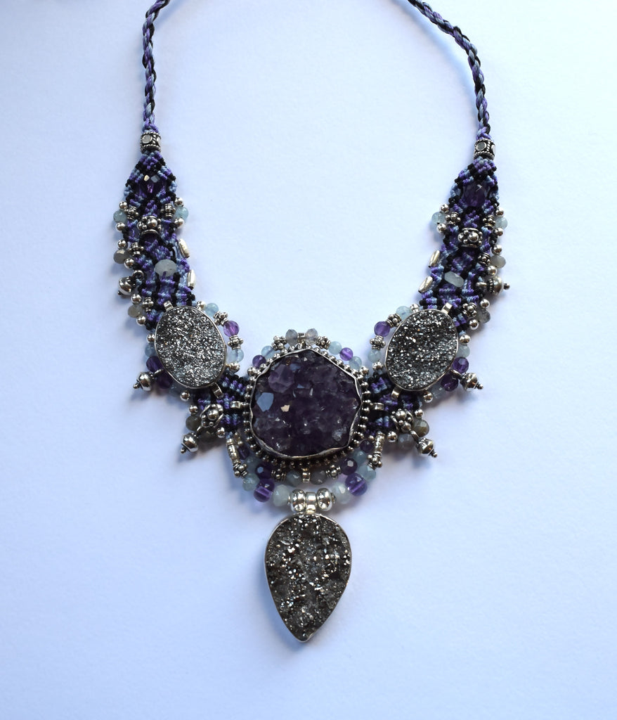 Isha Elafi Big Choker Purple & White with Amethyst Druzy