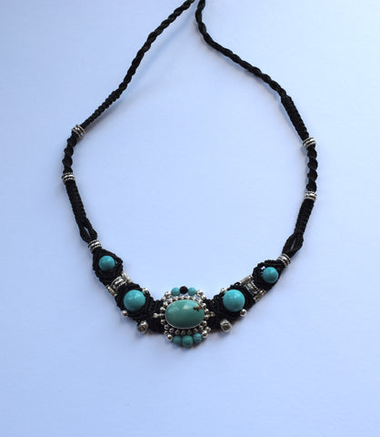 Isha Elafi Gio Necklace Black with Turquoise Stone
