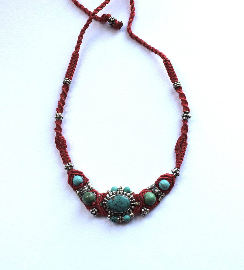 Isha Elafi Gio Necklace Red with Turquoise Stone
