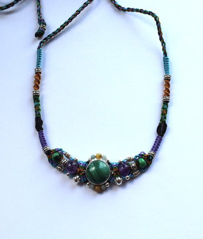 Isha Elafi Gio Necklace Purple, Green & Gold with Malachite