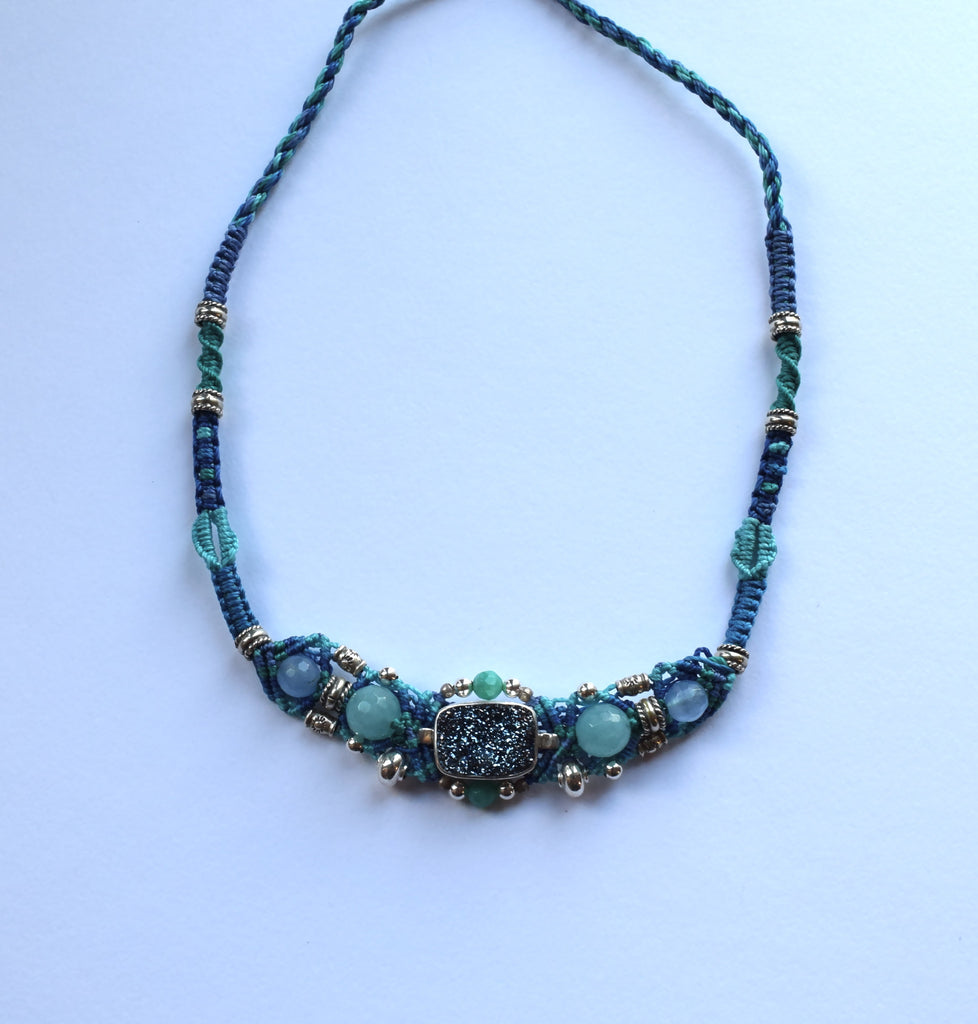 Isha Elafi Gio Necklace Blues with Blue Druzy