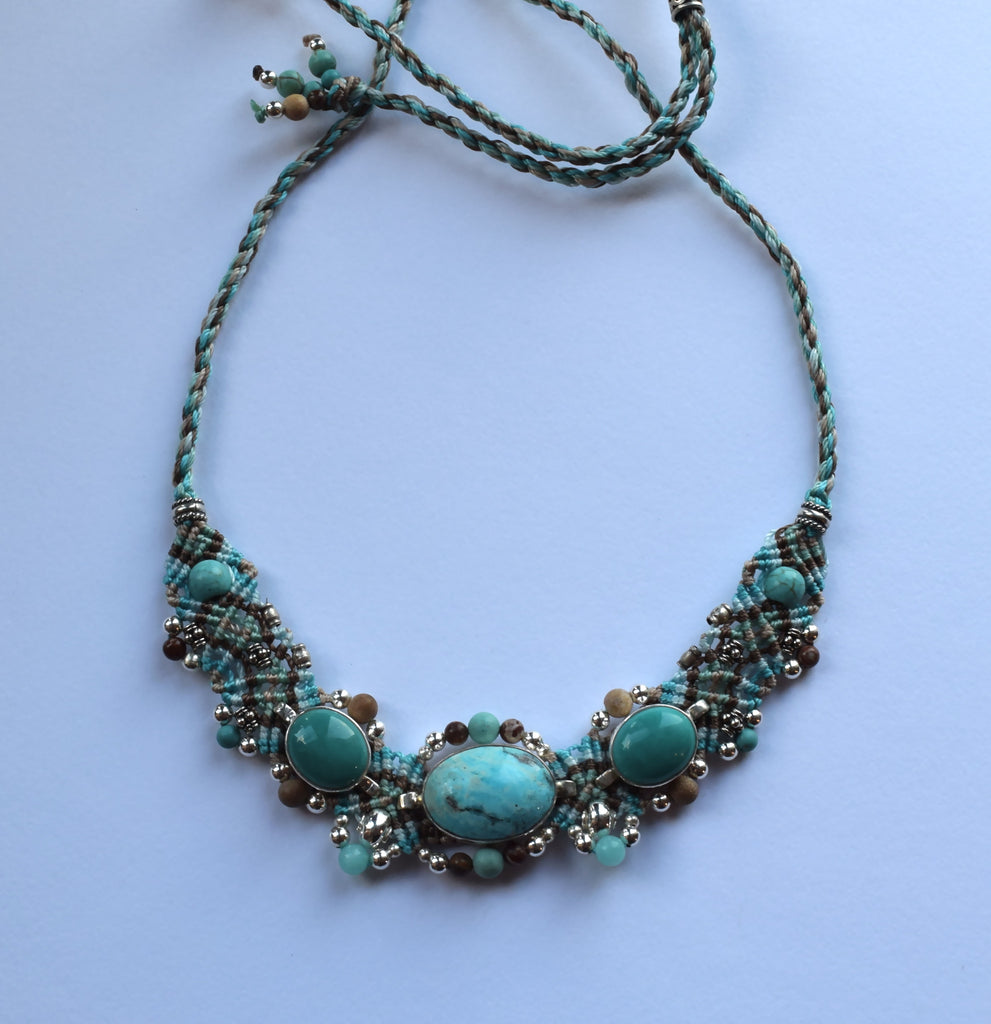 Isha Elafi Small Choker Blue & Tan with Turquoise Stones