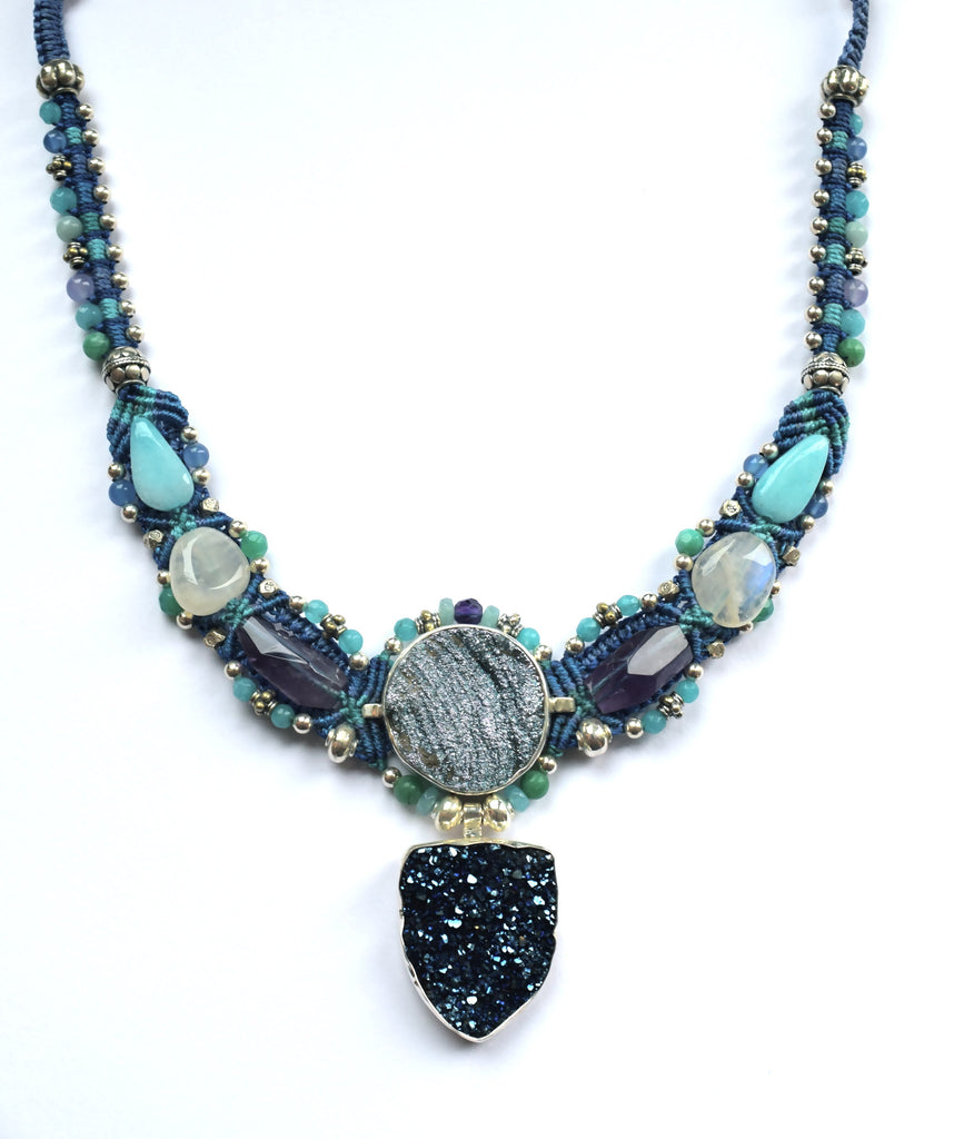 Isha Elafi Kris Necklace Blue & Teal with a Blue Druzy